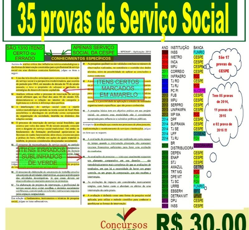 Agora são 35 provas de Serviço social de 2009 a2016