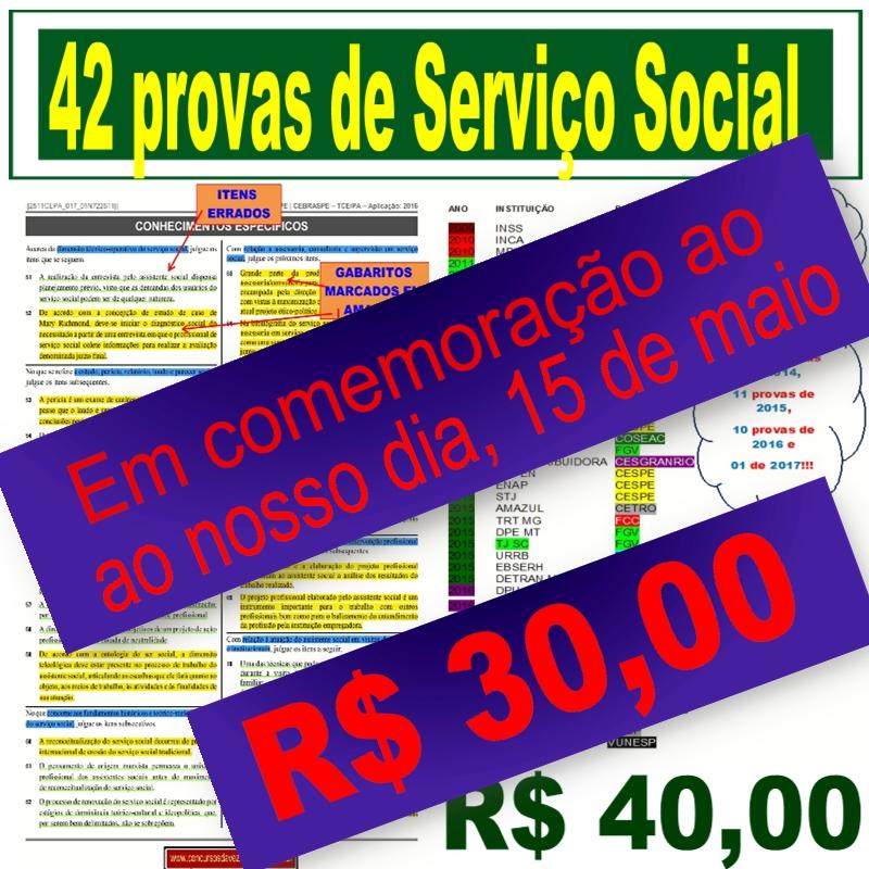 Pelo dia do Assistente Social, material com 42 provas a R$30,00