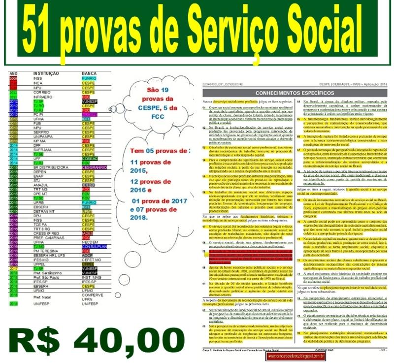 Agora são 51 provas de Serviço Social por 40reais!