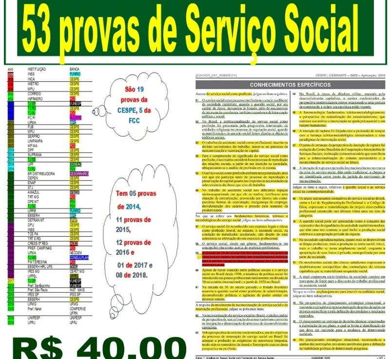 Agora são 53 provas de Serviço Social por 40reais!