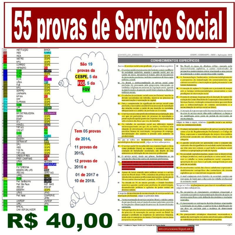 Agora são 55 provas de Serviço Social por  R$ 40,00reais