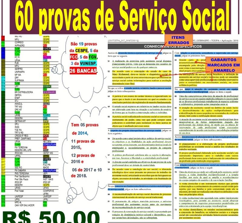 Agora são 60 provas de Serviço Social por  R$ 50,00reais