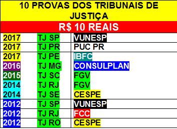 10 provas dos TJs por 10 reais