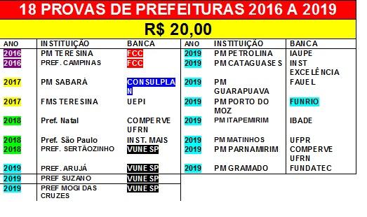 18 provas de Prefeituras Municipais de 2016 a 2019 por 20,00 Reais