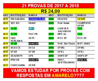 21 provas 2017 e 2018 por 24,00 reais