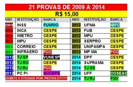 21 provas de 2009 a 2014 por 15,00 reais