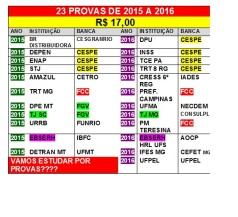 23 provas de 2015 a 2016 por 17,00